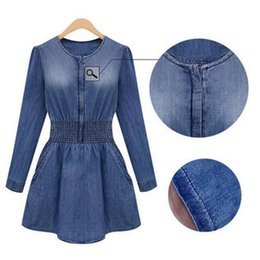 Robe De Soie Denim Pas Cher-Vente en gros Hot Sales Vintage Femmes Casual Slim Denim Washed Jeans Robe Tunique Mini Dress