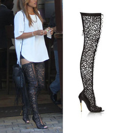 Gladiator Peep Toe Thigh High Boots Canada - Sexy See-thru Summer Booties Sequined Lace Over the Knee Thigh High Boots Open Toe Lace up Gladiator Boots