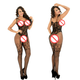 Stock De Corps Sexuel Pas Cher-Lingerie sexy à la mode Black Sexy Bodystocking Open Crotch Body costume Costumes sexy Intimates Women Body Stocking