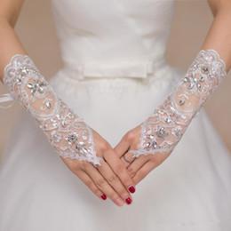 venda por atacado Barato Luvas nupciais da noiva do laço curto das luvas de casamento das luvas de casamento das luvas de casamento dos acessórios do casamento para noivas abaixo do comprimento do cotovelo