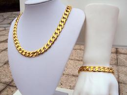 L'insieme dei monili più larghi di compleanno 12MM di cerimonia nuziale della collana del cubo dell'oro solido solido del bollo 24k giallo solido del GF IMPOSTANO IL TRASPORTO LIBERO in Offerta