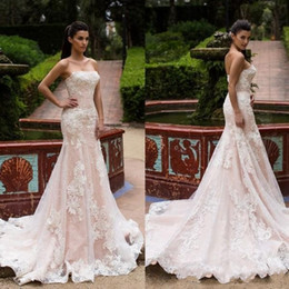 strapless sleeve lace wedding dresses Australia - 2019 Millanova Country Lace Mermaid Wedding Dresses Backless Strapless Cap Sleeve Sweep Train Tulle Applique Wedding Dress