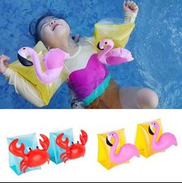 Barato Anéis De Natação Para Bebês-Kids Inflável braço banda cartoon natação Arm Bands flamingo Crab Baby swim rings safty assistive tools Floating Inflável KKA1961