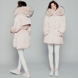 Barato Meninas De Capa Grossa-Hot Sweatgirl Fur Hood Manga comprida Thick Young Girl Parka White Duck Down Jacket Inverno Long Coat Pink Tamanho Pequeno Médio Grande Oversized