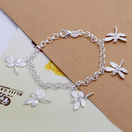 $enCountryForm.capitalKeyWord NZ - brand new Five dragonfly bracelet 925 silver charm bracelet 20cm DFMWB092,women's sterling silver plated bracelet