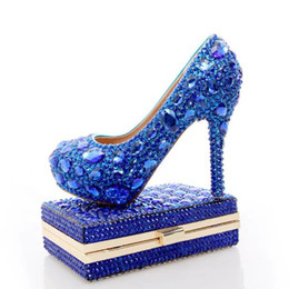 Discount matching shoes clutches 2017 Blue Rhinestone Wedding Heels with Fashion Crystal Matching Bag Party High Heels with Clutch Bridal Shoes Lady Prom