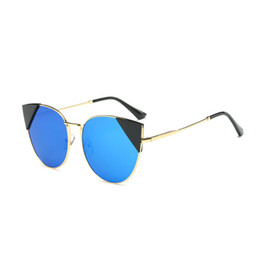Oversized Cat Eye Sunglasses Women Round Mirror Golden Frame Oversized  Mirror Sun Woman 2017 New Glasses Fashion HD Lens Glasses S157 a805915bc9