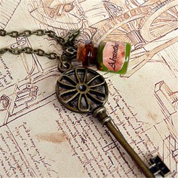 Vintage steampunk glasses online shopping - 12pcs vintage Steampunk Key Necklace Absinthe glass bottle in bronze