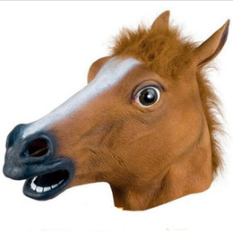 China Creepy Horse Mask Head Halloween Costume Party Novelty Scary Accessory Theater Prop Novelty Latex Rubber Animal Masquerade Mask cheap toy horse accessories suppliers