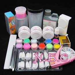 Poudres Acryliques Colorées Aux Ongles Pas Cher-Vente en gros - COSCELIA 1 Set Acrylic Powder With Liquid + 12pcs Colored Acrylic Powder Nail Tools Kit Nail Form Brosse à ongles en strass