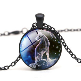 sagittarius chain NZ - Aries Pendant Necklace Vintage Taurus Sagittarius Sweater Chain Charm Cabochon Dome Crystal Glass Jewelry Gift for Women
