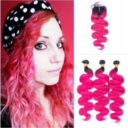Red Closure Canada - 1B Pink Ombre Brazilian Human Hair With Closure Two Tone Rose Red Ombre Hair 3Bundles With 4x4 Lace Closure Body Wave Hair Weave
