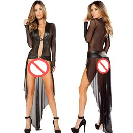 Baile Largo Vestido Caliente Baratos-Hot Sexy Perspectiva Largo Camisón Mujeres Negro Faux Leather Robe Patchwork Lingerie Pole Dance Mesh Dress