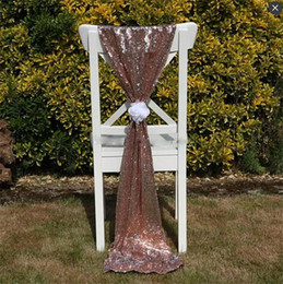 wholesale flower chair covers UK - Size 50*200 cm Gold Sequined Wedding Chair Sashes Without Flower Custom Made Wedding Party Decor Dazzling Chair Bows Chair Covers Ribbon
