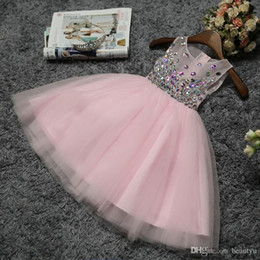 flower girl dresses fast NZ - Under 100 Crystal Flower Girl Dresses For Weddings Illusion Sheer Scoop Pink Light Blue Children Pageant Dress 2017 Fast Shipping