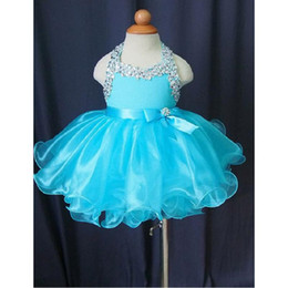 Barato Barato Criança Curto Pageant Vestidos-Toddler Pageant Vestidos Ball Gown Organza Halter Light Sky Blue Puffy Style Cheap Little Glitz Flower Girl Dress