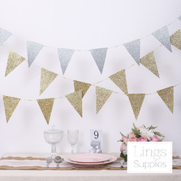 Triangle Table Canada - European Style gold and silver triangle flag pull flowers wedding triangle flag flag birthday party decorations 3m Wedding Suppliers Cheap