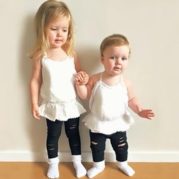 Lingerie En Coton En Dentelle Sans Manches Pas Cher-INS Bébé Tops Summer Girls Backless Tops Robe Girl Solid Color Blanc Dentelle Coton Débardeurs Mini Jupe Nouveau-né Enfants Bébé Bébé Vêtements 572