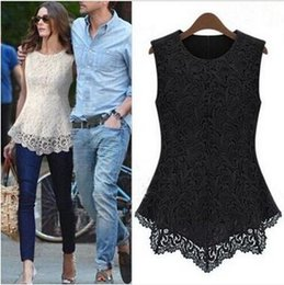 $enCountryForm.capitalKeyWord NZ - Women Summer O Neck Lace Tops Sleeveless Sexy T Shirt Casual Lace Tank Tops Slim Lace Back Zipper Pullover Plus Sizes 19 Colors