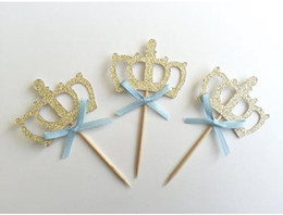 $enCountryForm.capitalKeyWord Australia - Custom personality antique gold Glitter crown Cupcake Toppers with blue Bow boy baby shower Birthday wedding toothpicks party decorations