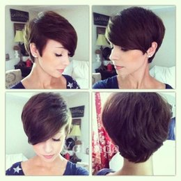 pixie cut human hair wigs NZ - Brazilian short celebrity pixie human hair wigs African American hair wigs for black women cheap cut none lace wigs with baby hair