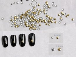 Barato Etiquetas Da Arte Do Prego Punk-Atacado - 3g 2mm-3mm Moda Round Punk Rivet Dicas de unhas Golden Silver Metal Nail Art Tips Metallic Studs Stickers aprox.300pcs