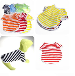 Striped T Shirt Wholesale Canada - Pet Polo Shirt 2017 Dog Clothes Fashion Striped Clothes Dog Puppy Classic Striped Polo T-Shirt Gentleman Style Cotton Pet Clothes XS-XL 69