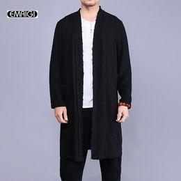 Wholesale long coats china resale online – new men trench coat china style linen cardigan coat men vintage broken long jacket fashion windbreaker overcoat A321