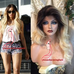 Dark Roots Blonde Hair Canada - Dark root Blonde Full Lace Wig Dark Root 1b 613 Virgin Brazilian Body Wave Lace Front Wig Two Tone Ombre Human Hair Wigs