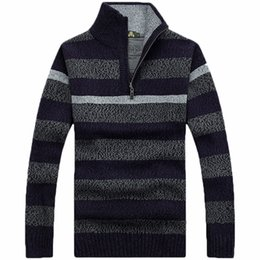 $enCountryForm.capitalKeyWord NZ - Wholesale- free shipping sweater with zipper mens striper sweaters autumn &spring Knitted sweaters underwear Mens Clothes 85