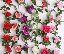 plastic green leaf vines Canada - 16 head simulation roses rattan plastic flowers vines decorated green leaves diamonds rose flowers rattan