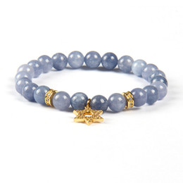 8mm cz bracelet UK - Wholesale New Arrival Four Colors Clear Cz Star Of David With Top Quality 8mm Light Blue Stone Beads Magen David Pendant Chams Bracelet