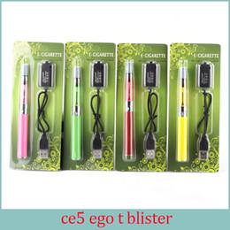 Ego T Ce5 Canada - Ego ce5 Ego t Battery Blister Kit 1.6ml no Wick Electronic Cigarettes Vaporizer 650mah 900mah 1100mah E Cig 10 colors kit