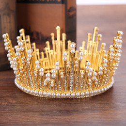 China Baroque Fashion Vintage Crystal Pearls Big Round Crowns for Women Men Hair Jewelry Bridal Pageant Tiara Wedding Hair Accessories Headpieces cheap man crowns suppliers