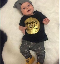 b11d67059741 MAMAS BOY summer baby clothing outfits Toddler clothes Gold print arrow  cotton short sleeve black T-shirts tops pants 2pcs sets wholesale