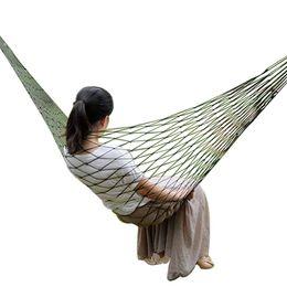 swing mesh 2019 - Deep Green Nylon Hammock Hanging Mesh Sleeping Bed Swing Outdoor 1 Person Children Adults Portable Garden Hammock Hamak