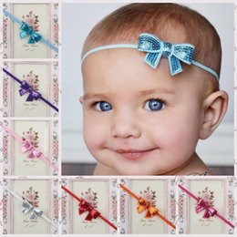 blue photo girl NZ - Sequin Bow Girl Headband Big Bow Knot Head Wrap 2017 Girls Sequined Head band Turban Headband Girls Hair Accessories Photo Props B469
