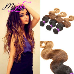 ombre hair extensions 22 inch NZ - 9A Ombre Color Body Wave Human Peruvian Virgin Hair Unprocessed Hair Extension Weft Three Pcs Three Tones T1b-4-30