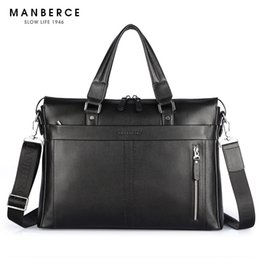 cell phone commercial 2019 - Wholesale- New Fashion Genuine Leather men briefcase, 15.6 inch commercial laptop briefcase, cross-body shoulder bag che