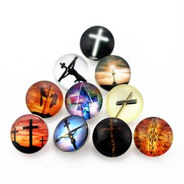 glasses cross NZ - faddish 20pcs lot 18mm cross Glass Snap Buttons Charms Fit Snap Bracelet Necklace DIY Jewelry E mail treasure