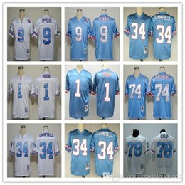 ... mens Large Throwback Football Jerseys Houston 1 Warren Moon Jersey 34  Earl Campbell 9 Steve McNair Vintage Oilers ... 493e374a4