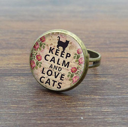 Vintage Cat Art Canada - 10pcs Glass Dome Cabochon Women Rings Calm and Lovely Cats Art picture Vintage Jewelry Ancient Bronze Rings Adjustable