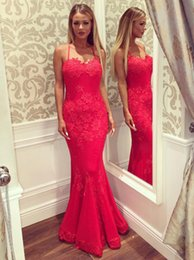 2017 Abito da sera Red Trumpet / Mermaid Sweetheart Backless Lace-lunghezza ultimi abiti da ballo 2018