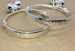$enCountryForm.capitalKeyWord Australia - 2pcs pair S925 silver white copper childrend's bracelet bangle Bells baby bracelet bangle prosperity brought by the dragon and the phoenix