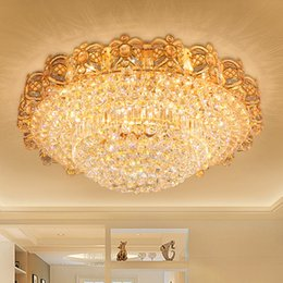 LED Crystal Chandeliers Gold Fancy Round High Class K9 Chandelier Hotel Lobby Villa Led Pendant Including Free Bulbs