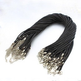 Chinese  Black Wax Leather Snake Chain Necklaces Beads Cord String Rope Wire 45cm Extender with Lobster Clasp Jewelry DIY Line Chains 1.5mm 2mm manufacturers