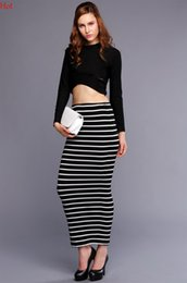 Barato Manga Comprida Vestido T-Lady Clothing Womens Crop Tops Long Sleeve Striped Bodycon Skirt Stretch Sexy Dress Party T-shirt Slim Fit Long Juicy 2 Pieces Sets SV011197
