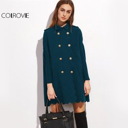 Barato Casaco De Pêlo Duplo-COLROVIE Double Breasted Vintage Cape Coat Casaco de inverno Mulheres Scallop Edge Elegant Coats 2017 Blue Long Sleeve Collar Warm Coat q1113