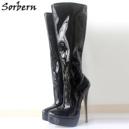 "Heels Platforms 18cm Canada - New Women Boots Autumn Winter Shoes Woman 18cm 7"" High Heel Pointed Toe Platform Knee-High Long Boots Plus Size 35-46"