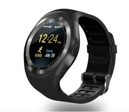 Опт Умные часы Y1 1.54 дюйма IPS Круглый сенсорный экран Водонепроницаемые SmartWatch Телефон с SIM-картой Слот умные часы для IOS Android